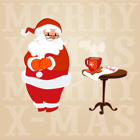 period costume: vector illustration Santa Claus in glasses made coffee Illustration