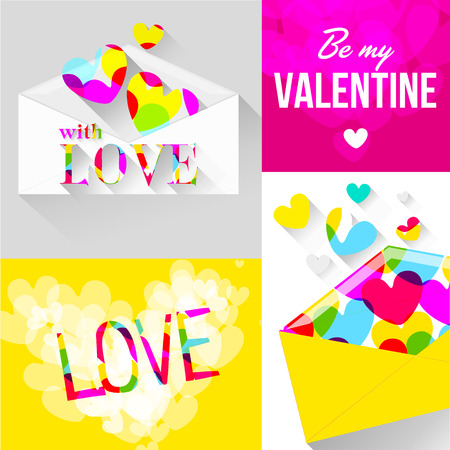 vector drawing an envelope with hearts for Valentines Day Vector