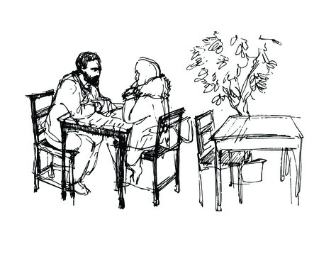 turn away: black and white vector sketch of a man with a beard and a girl sitting at a table in a cafe