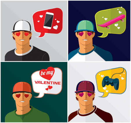 burbujas de pensamiento: un conjunto de hombres en la gorra de b�isbol con burbujas de pensamiento Vectores