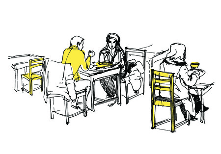 sketch of people having lunch in the cafe Vector