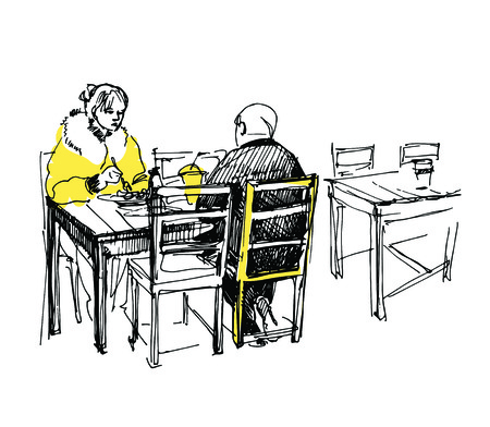 sketch of couple having lunch in the cafe Vector