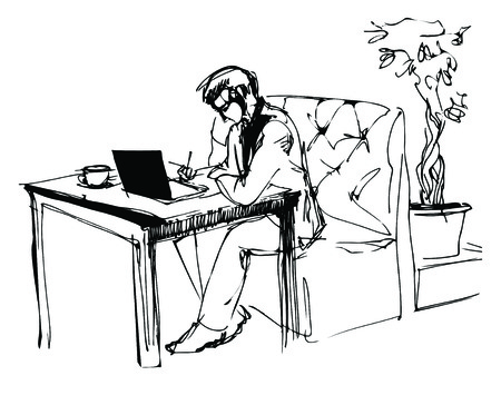 businessman shoes: sketch of a young businessman working in a cafe