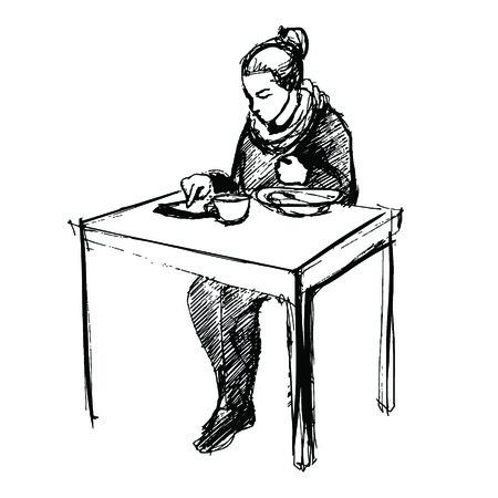 vrouw met tablet: jonge vrouw met behulp van tablet-computer en lunchen