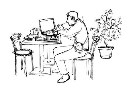 big break: sketch of man at the lanch in cafe Illustration