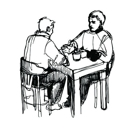 a sketch of a man conversing over dinner at a table in a restaurant Illustration