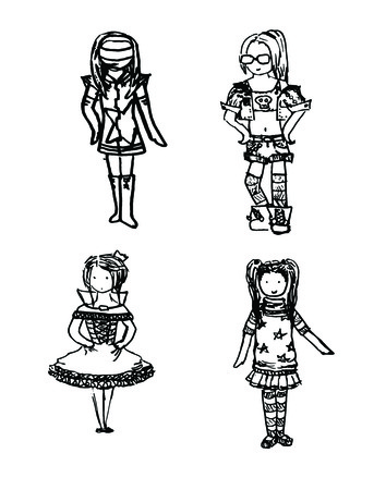 children's story: cartoon girl in various costumes