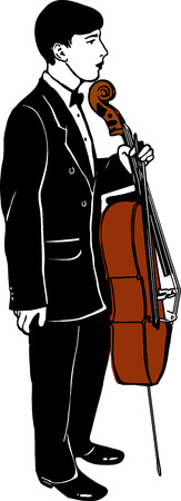 a sketch of a young man with a cello musician Ilustrace
