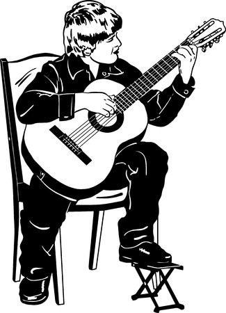 boy playing guitar: black and white vector sketch of a boy playing music on a guitar