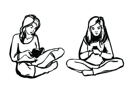 a girl with phone, girl with book Vector