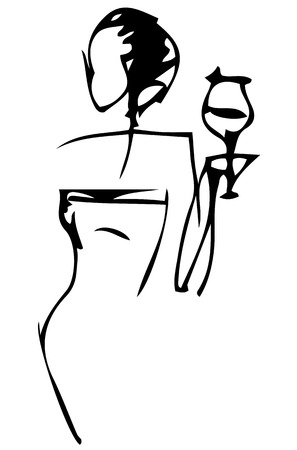 black and white silhouette vector sketch of an elegant woman with a glass