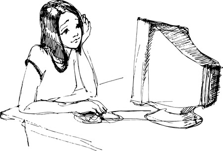 'one woman only': vector sketch of a young girl in front of a monitor with a mouse