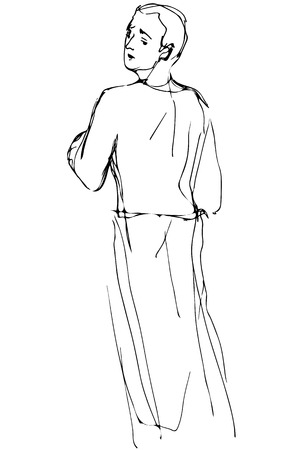 over the shoulder: black and white vector sketch of a man looking back over his shoulder