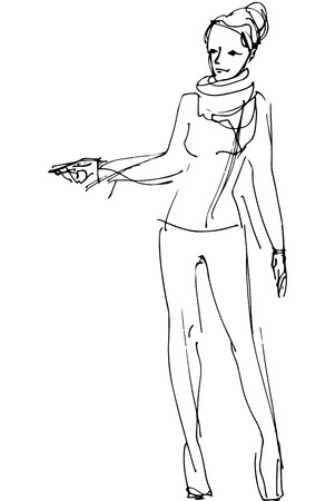black and white vector sketch of a woman is pointing direction
