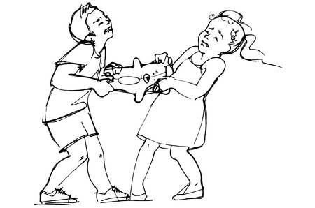 black and white vector sketch of boy and girl children are fighting over a toy