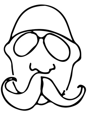 bald man: black and white vector sketch of a bald man with a mustache wearing glasses