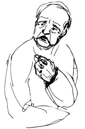 black and white vector sketch bald grandfather looking away