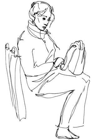 'one woman only': black and white vector sketch of a woman with a bag sitting on the bus Illustration