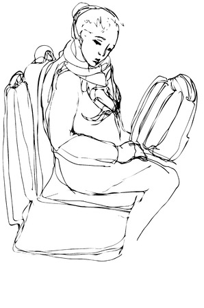 buss: lack and white vector sketch of a woman with a bag sitting on the buss Illustration