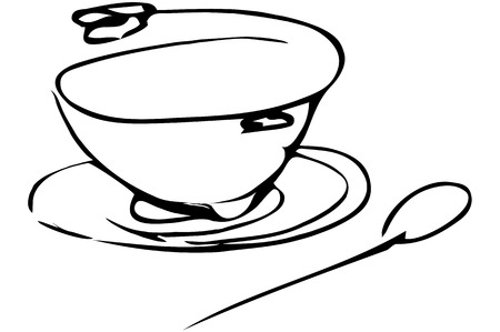 soup spoon: vector sketch of a bowl of soup with herbs and spoon lying next
