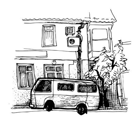 ink sketch: disegno ad inchiostro van parcheggio vicino casa Vettoriali