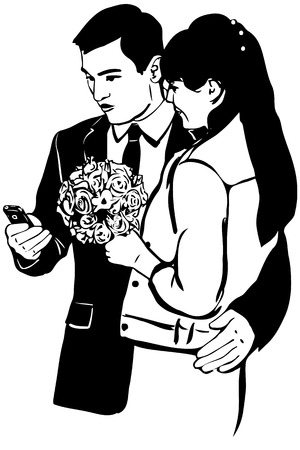 black woman: black and white vector sketch of a guy with a phone Woman with a bunch of hugs