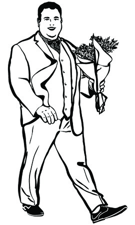 oversized: black and white vector sketch of a fat man with a bouquet of flowers