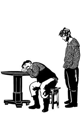 hombres maduros: bosquejo blanco y negro del vector de un hombre con un bigote se hab�a quedado dormido en la tableta