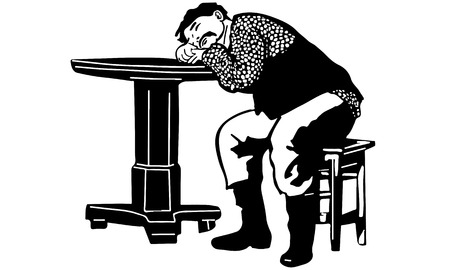 black and white vector sketch of a man with a mustache had fallen asleep at the table