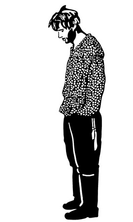 unshaven: black and white vector sketch of an unshaven man standing and looking
