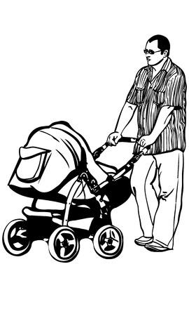 niño empujando: dibujo vectorial falta y negro de un joven papá que recorren con un pramb