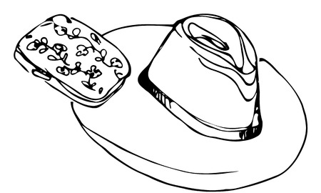 black and white vector sketch of ladys hat and female clutch Ilustração