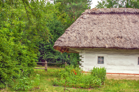 locked up: Image Ukrainian wooden hut thatched locked up