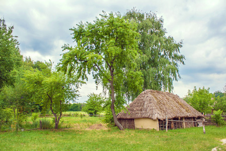 locked up: Image Ukrainian wooden barn Thatched locked up