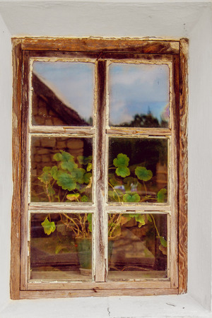 mage: mage of an old window with a wooden frame and a flower on the windowsill