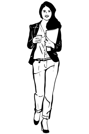 white pants: lack and white vector sketch of a young student is wearing pants and coffee Illustration