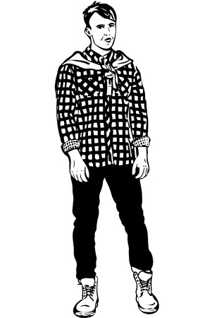 masculinity: black and white vector sketch of a young man in a plaid shirt