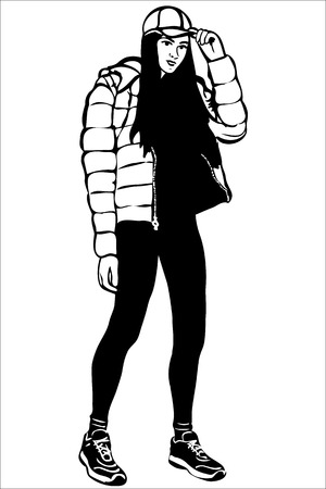 one girl only: black and white vector sketch of a girl in a cap and down jacket