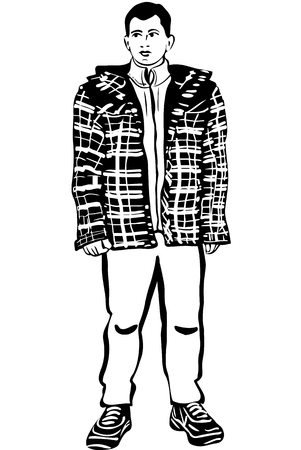winter jacket: black and white vector sketch of a young man in a winter jacket Illustration