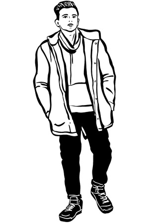 one man only: black and white vector sketch of a young man in a jacket