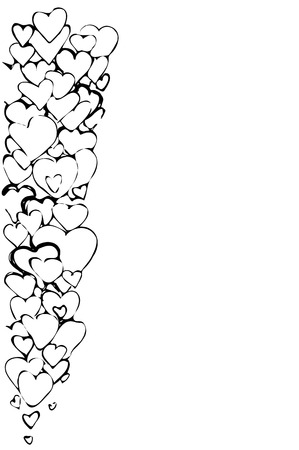 variety: black and white sketch of a vector background of a variety of hearts