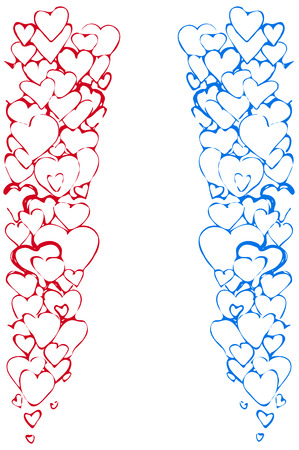 variety: a Vector sketch of the background of a variety of red and blue hearts