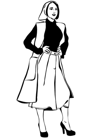 waistcoat: black and white vector sketch of a beautiful girl in a scarf and cardigan Illustration