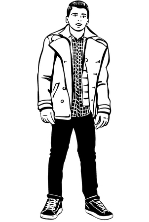 one man only: black and white vector sketch of a young handsome man with jacket
