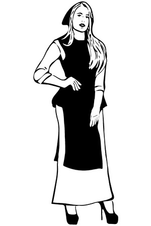adults only: black and white vector sketch of young blond woman in an apron and a kerchief on her head