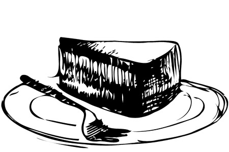 piece of cake: black and white vector sketch dessert piece of cake on a plate