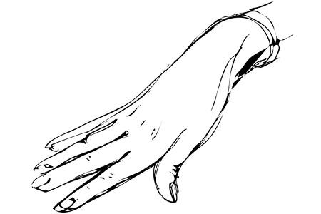vecteur noir et blanc croquis de la main droite de la femme Vecteurs