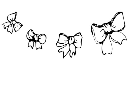 butterfly bow: black and white vector sketch of a butterfly ribbon tied bow