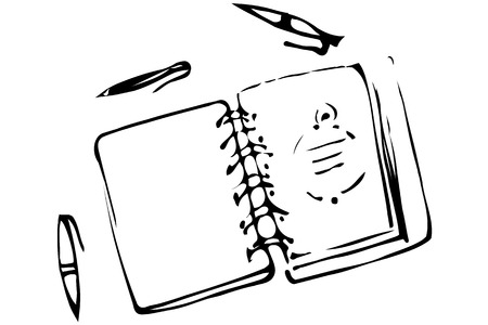 open notebook: black and white vector sketch of an open notebook and ballpoint pens