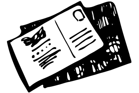 sealed: black and white vector sketch of a sealed envelope with a stamp and an address Illustration